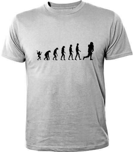 Mister Merchandise Cooles Herren T-Shirt Evolution American Football, Größe: XXL, Farbe: Grau