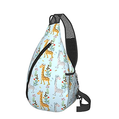 Zaino a tracolla con motivo a giraffa e fiori, leggero e impermeabile, ideale come regalo per donne e uomini