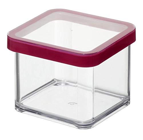 Rotho Loft quadratische Vorratsdose 0,5l mit Deckel und Dichtung, Kunststoff (SAN) BPA-frei, transparent/rot, 0,5l (10,0 x 10,0 x 7,2 cm)
