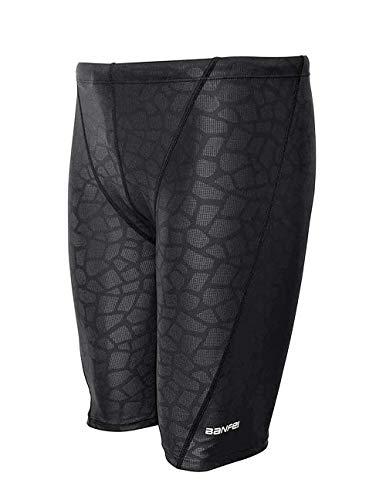 Srnfean Men's Quick Dry Swim Jammer Shorts Swimwear Black Print Medium