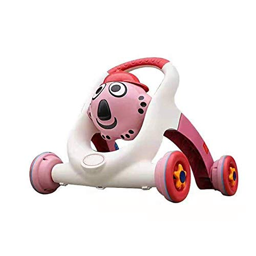 QHWJ Cartoon Baby Balance Walker, Educación Electrónica Juguete O-Legs Rollover Four-Wheeled Walker Portable Taxi Yo, Bebé Cumpleaños