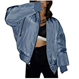 Komise Frauen Casual Kontrastfarbe Wear Hooded Zipper Fliegerjacke Baumwollmantel -