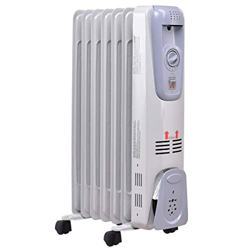 GOFLAME Oil Filled Radiator Heater, 1500W Portable Space Heater with Adjustable Thermostat, Tip-over & Overheated Protection, 3 Heat Settings with Quiet Operation, Electric Heater for Home and Office