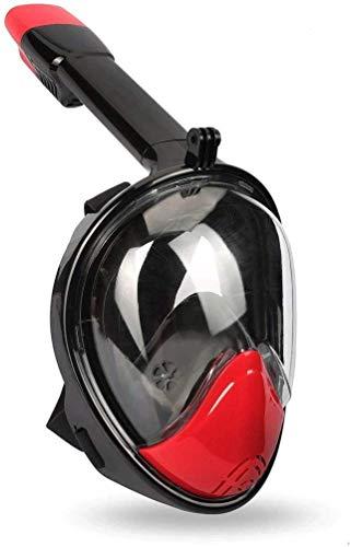 MWKLW Máscara de Buceo Full Face 180 ° Vista panorámica Máscara de Snorkel Set para Adultos Hombres Mujeres Antivaho y antifugas con Soporte de cámara Desmontable