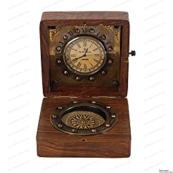 Authentic Clock Compass in Rose Wood Box, Vintage Gift…