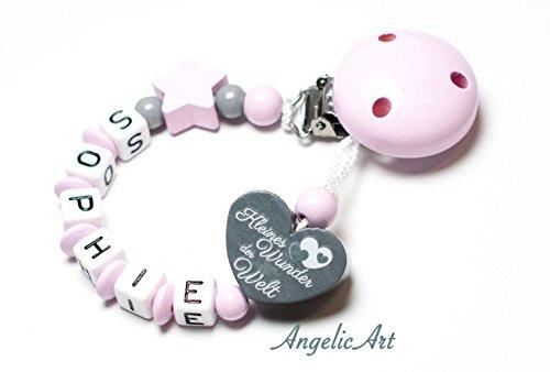 Schnullerkette mit Namen - Junge Mädchen - VIELE MODELLE - Häkelperle 3D Tiere Motivscheiben (Rosa, Kleines Wunder der Welt)