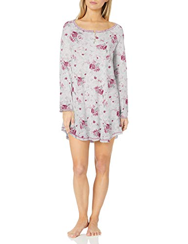 Karen Neuburger Plus Size Women's Long Sleeve Nightshirt Nightgown Pajama Dress Pj, Floral Wine Berry, 1X