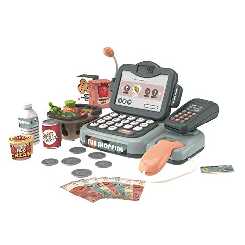 TOUNTLETS Pretend Play Calculator Cash Register w/Real Scanner, Electronic Sounds, Microphone, Calculator, Pretend Play Food, Cashier, Educational Learning Role Play Toys for Kids, Toddlers