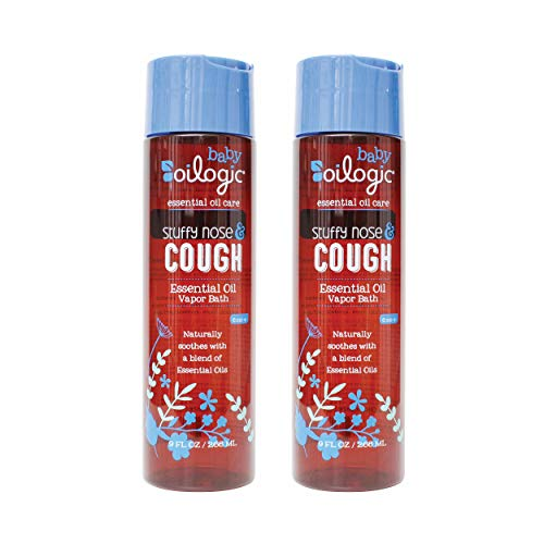 Oilogic Stuffy Nose and Cough Essential Oil Vapor Bath Relief for Babies and Toddlers - Naturally Soothes with a Blend of Essential Oils - 266ml (9 fl oz, 2-Pack)