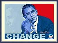 ポスター アームストロング Barack Obama change 額装品 ウッドベーシックフレーム(ブルー)