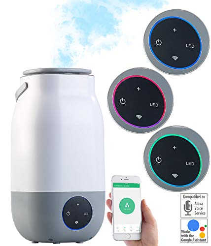 newgen medicals Luftbefeuchter WLAN: Ultraschall-Luftbefeuchter, kompat. zu Amazon Alexa & Google Assistant (Luftbefeuchter WiFi)