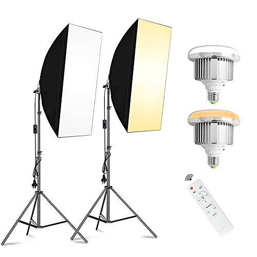 VOLKWELL 2X85W Bulbs Softbox LED Lighting Kit Professional Photography Continuous Light Studio Equipment with E27 Socket for Portrait Product Video Shooting