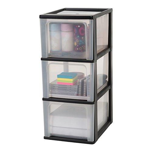 Iris Organizer Chest OCH-2300 Schubladencontainer -/ schrank, Kunststoff, schwarz / transparent, 35,5 x 26 x 60,2 cm