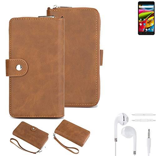 K-S-Trade® Handy-Schutz-Hülle Für Archos 55b Cobalt Lite + Kopfhörer Portemonnee Tasche Wallet-Case Bookstyle-Etui Braun (1x)
