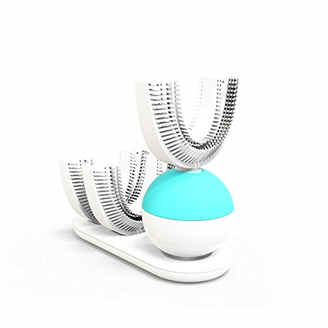 スタック耕すケイ素怠け者牙刷-電動 U型 超音波 専門370°全方位 自動歯ブラシ ワイヤレス充電 成人 怠け者 ユニークなU字型のマウスピース わずか10秒で歯磨き 自動バブル 2本の歯ブラシヘッド付き あなたの手を解放 磁気吸引接続 (ライトブルー)