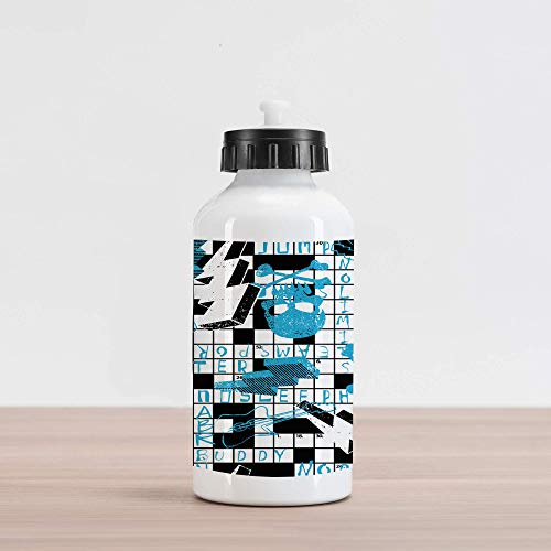 20oz Retro Aluminum Insulated Spill-Proof Travel Sports Water Bottle Crossword Puzzle Theme with Skulls Thunder Bolts Grunge Style Illustration, Blue Black and White