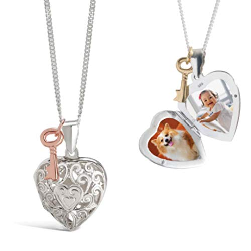 Lily Blanche Women Personalised Necklace White Gold Locket with Key Charm Designed in Britain