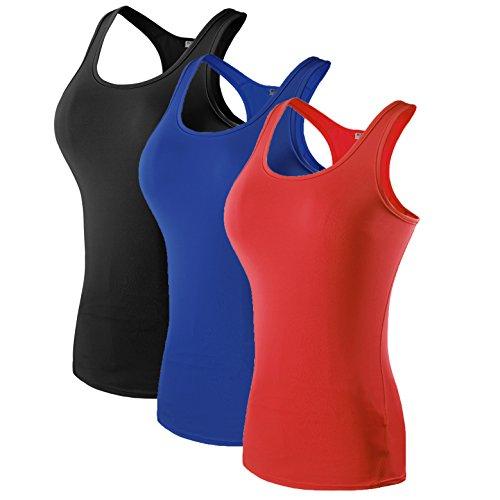 MAGNIVT Damen Kompressionstanktop 3er-Pack Dry Fit, Damen, Schwarz, Blau, Rot, US Medium (Tag L)