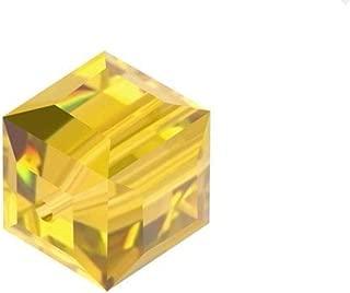 12pcs Swarovski 4mm Small #5601 Cube Light Topaz Crystal Beads for Jewelry Craft Making (November Birthstone) SWAC408