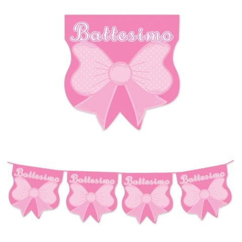 61650 - Guirnalda de banderines para bautizo, lazo rosa cuadrado, decoración de fiesta de niña