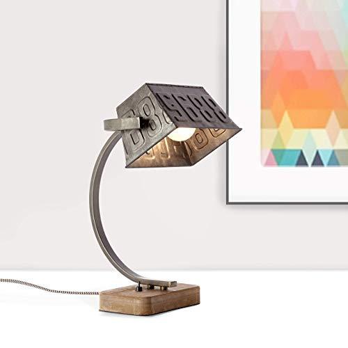 Lampe de table, 1 x E27 max. 40 W, métal/bois, acier noir