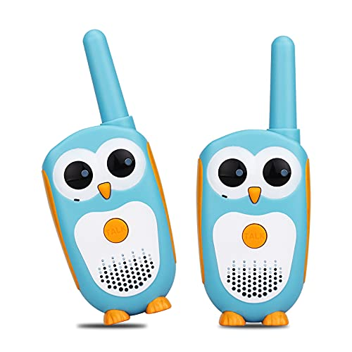 Retevis RT30 Kids Walkie Talkies,Easy Owl Small Children's Toys,LED Eyes,Girls Boys Aged 3-5,Helloween, Camping,Indoor Role Play Games (Blue,2 Pack)
