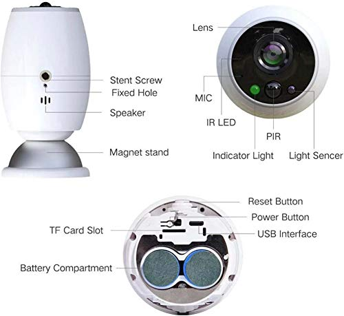 Lvbeis Baby WiFi Telecamera Senza Fili Con Visione Notturna Monitoraggio Impermeabile Home Security Sorveglianza