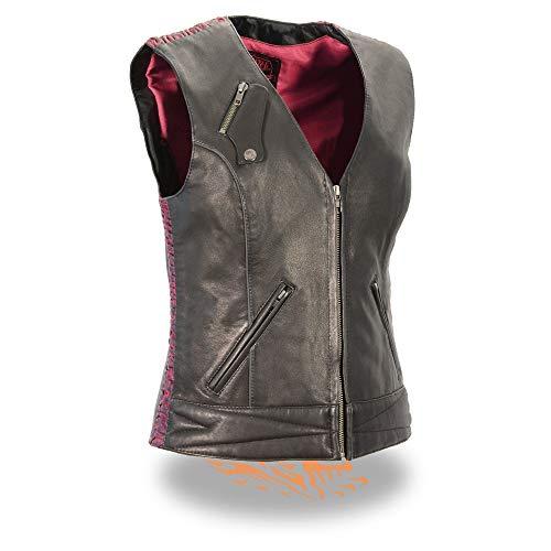 Milwaukee Leather MLL4571 Ladies 'Crinkled' Black and Pink Lightweight Leather Vest - 2X-Large