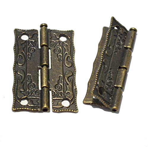 10 PCS Folding Butt Hinges 180 Degree Antique Bronze Hinge Vintage Hardware with Screws for Furniture Doors Windows Cabinet Wooden Boxes Jewelry Case Chest (Length:1-7/16', Width:7/8')