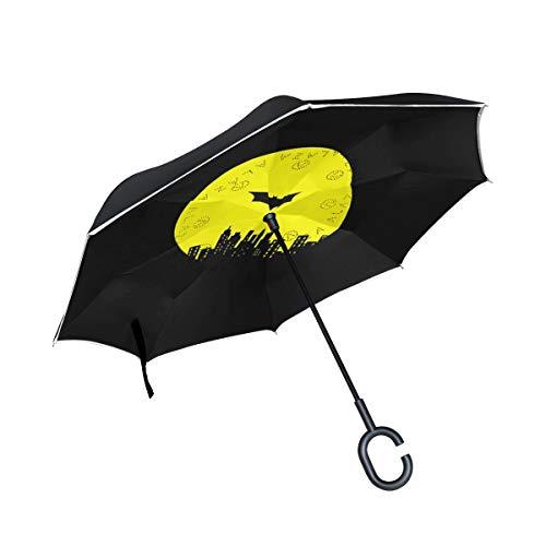 ISAOA Gro?e Schirm Regenschirm Winddicht Doppelschichtige Konstruktion seitenverkehrt Faltbarer Regenschirm f¨¹r Auto Regen Au?eneinsatz, C-f?rmigem Henkel hinh?ngen Batman Regenschirm