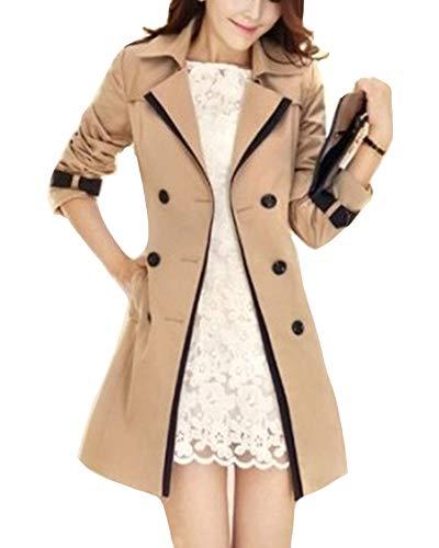 ShiFanA Frauen Trenchcoat Lang Mantel Tasche Übergangsjacke Outdoorjacke Und Gürtel Kaki XL