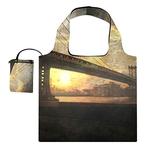 Bolsas de compras reutilizables para comestibles, bolsas de compras, gran capacidad, plegable, puente, horizonte, paisaje urbano