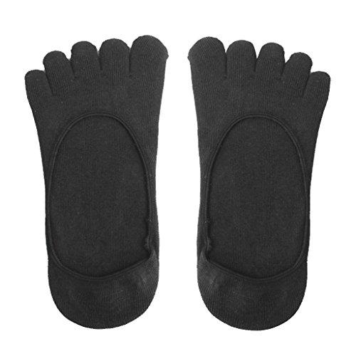 Footful Baumwolle fünf Finger Toe Socken Unsichtbaren Socken für Frauen (Schwarz)