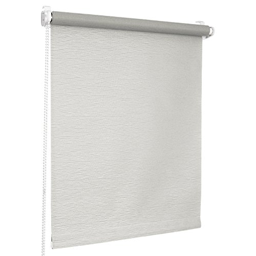 Rolmaxxx ROLLMAXXX Rollos Jacquard-Welle Lichtdurchlässigrollo Fensterrollo Klemmfix ohne Bohren (90 x 150 cm, Grau)
