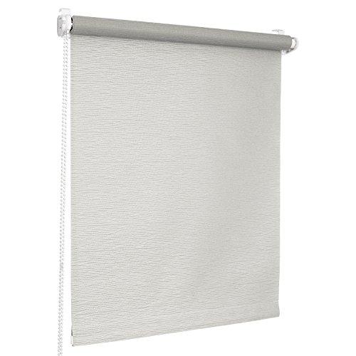 Rolmaxxx ROLLMAXXX Rollos Jacquard-Welle Lichtdurchlässigrollo Fensterrollo Klemmfix ohne Bohren (130 x 150 cm, Grau)