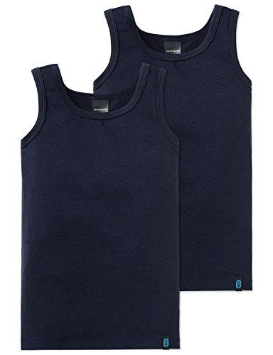 Schiesser Jungen 95/5 2pack Hemd 0/0 Unterhemd, Blau (Nachtblau 804), 116 (2er Pack)