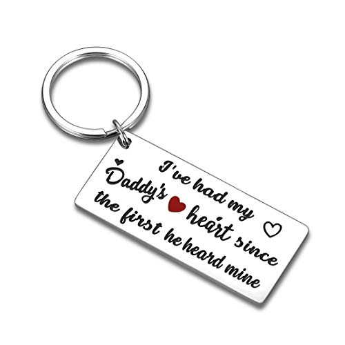 Father's Day Gift Keychain for Dad Daddy's Birthday Gift from Daughter Son I've Had My Daddy's Heart Since The First He Heard Mine Christmas Valentine Thanksgiving Day Jewelry Gift to New Dad