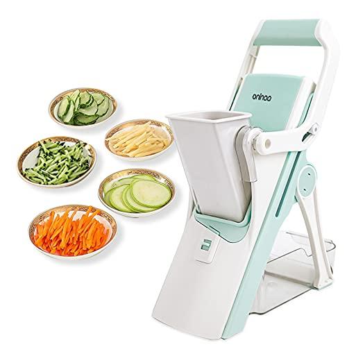 Safe Vegetable Cutter, Kitchen Mandoline Slicer Veggie Cutter ,Food Chopper Grater Slicer, Suitable for Vegetable Fruit Meat ,with Container & 5 replaceable blades