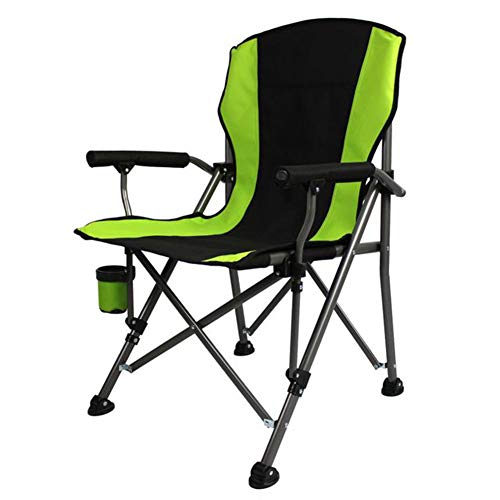 LSYOA Ultraleicht Tragbar Camping Stuhl, Kompakter Klappbar Rucksackstuhl Freizeitstuhl mit Getränkehaltern und Tragetasche,Green