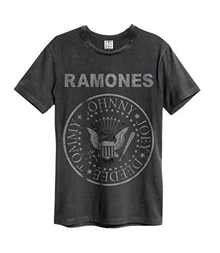 Ampercell Ramones Logo Camiseta, Carbón, S para Hombre