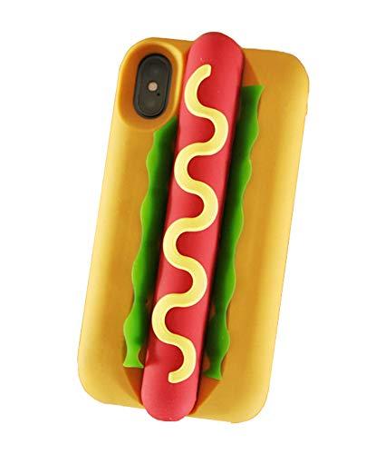 Capa de silicone 3D UnnFiko Compatível com iPhone, capa de para-choque de borracha macia retrô clássica e criativa Cool Fun Capa protetora grossa, Hot Dog, iPhone XR