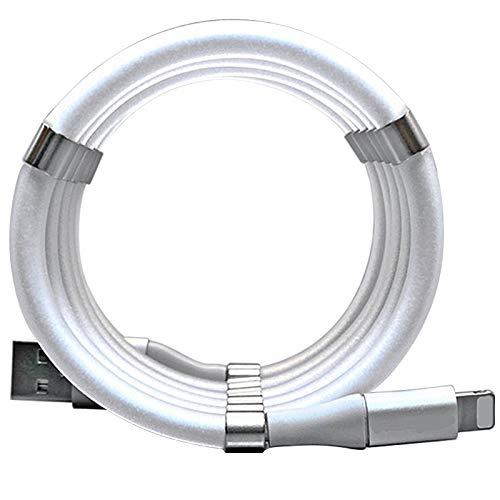 Cable de carga USB, cable de carga magnético, cable de carga magnético, fácil bobina, cable de coche, compatible con iPhone 6, 7, 8 x 11, cable USB de carga magnético para dispositivos iOS.