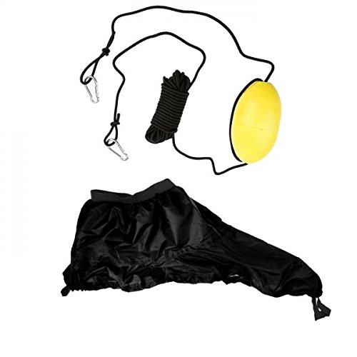 MagiDeal Kajak Cockpit Spray Rock Plattform Abdeckung + Kajak Kanu Antrieb Hin Und Herbewegung Mit Elastischer Stoßdämpfer Schnur Abschleppseil Wurflein