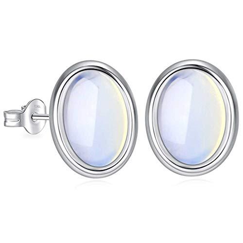 Ohrstecker 925 Sterling Silber mit Regenbogen Oval Mondstein Edelstein für Damen und Girls