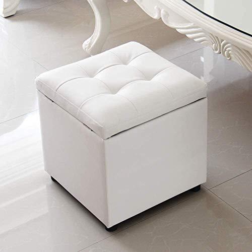 MUZIDP Taburete de piel sintética con forma de cubo para almacenamiento y asiento individual para el hogar (color: 40 x 40 x 40 cm, tamaño: blanco)