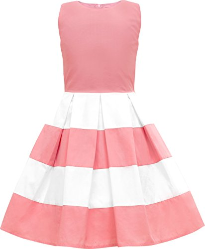 BlackButterfly Kinder 'Lilly' Vintage Gestreift Mädchen Kleid im 50er-Jahre-Stil (Rosa, 9-10 J / 134-140)