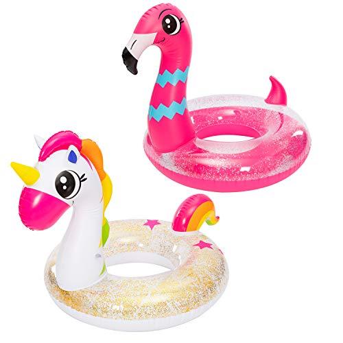 JOYIN Aufblasbarer Einhorn & Flamingo Luftmatratze mit Glitzer, Pool Float, Schwimmen Floß, Strand Schwimmbad Spielzeug, Sommer-Party Dekoration für Kinder