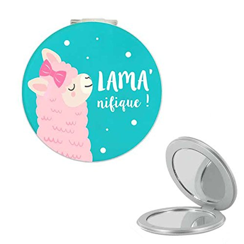 Les Trésors De Lily [Q0863] - Miroir de poche 'Lama Mania' turquoise (Lama' nifique !) - 6 cm