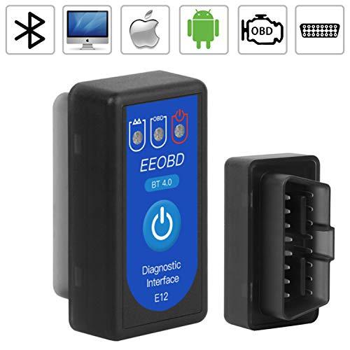 N   P OBD2 Bluetooth 4.0, OBD Auto Diagnostica Auto Code Lettore Scansione Strumento, Mini Adattatore Wireless Codice Errore di Scansione per Veicolo,Compatibile con Android, iOS, Symbian e Windows