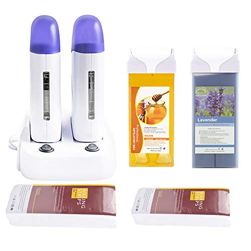Double Depilatory Roll on Wax Heater Roller Warmer Cartridge Strips Hair Removal Kit with ON/Off Switch (Honey & Lavender Wax & 200 Paper& 30 Wipes)